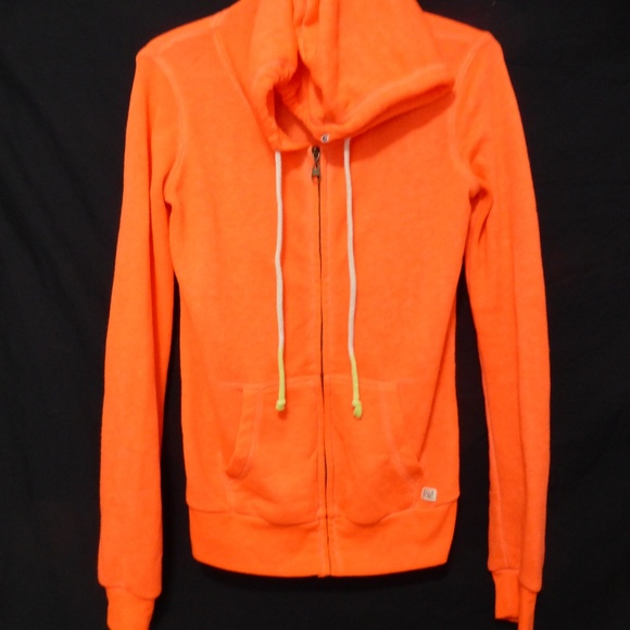 Billabong orange zip up sweatshirt hoodie, small